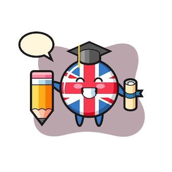 Flaga wielkiej brytanii odznaka ilustracja kreskówka to ukończenie szkoły z gigantycznym ołówkiem