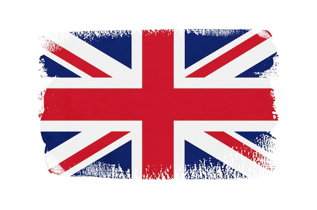 Flaga wielkiej brytanii pociągnięcia pędzla grunge