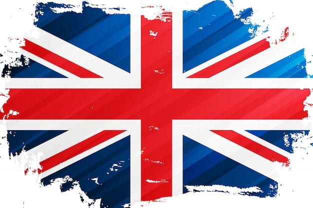 Flaga wielkiej brytanii pociągnięcia pędzlem w tle. flaga narodowa zjednoczonego królestwa. flaga brytyjska