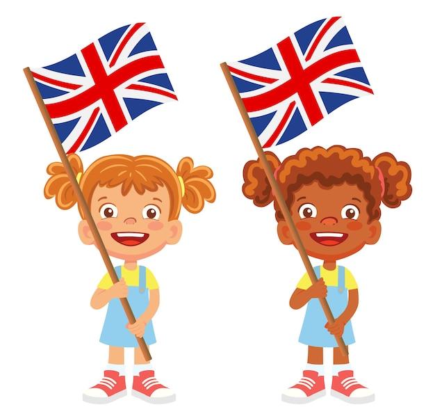 Flaga wielkiej brytanii w ręku. dzieci trzymając flagę. flaga narodowa wektor wielka brytania