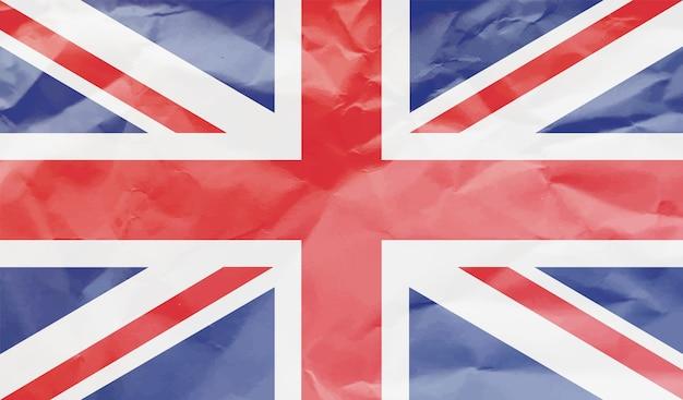 Flaga wielkiej brytanii z pogniecionego papieru