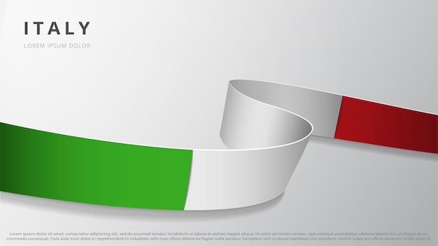 Flaga włoch. realistyczna falista wstążka z kolorami włoskiej flagi. szablon graficzny i projekt strony internetowej. symbol narodowy. plakat dzień niepodległości. abstrakcyjne tło. ilustracja wektorowa.