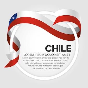 Flaga wstążki chile, ilustracja wektorowa na białym tle