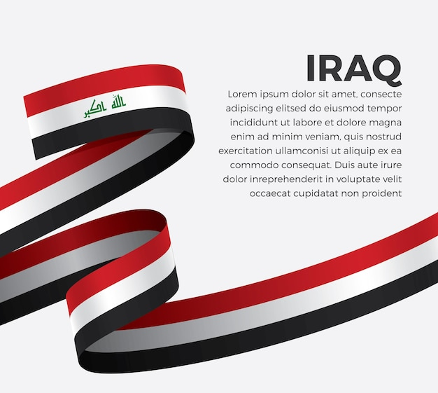 Flaga wstążki iraku, ilustracji wektorowych na białym tle