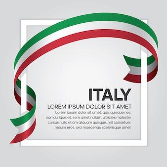Flaga wstążki italia, ilustracja wektorowa na białym tle