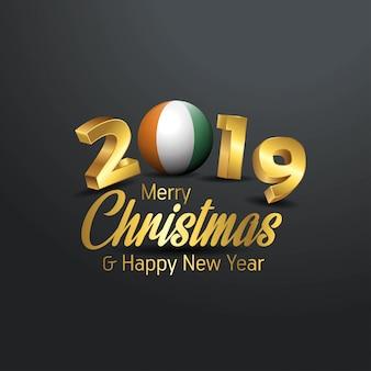 Flaga wybrzeża kości słoniowej 2019 wesołych świąt typografia