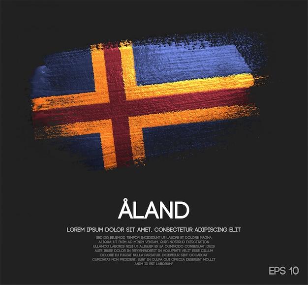 Flaga wysp alandzkich wykonana z błyszczącej farby pędzelkowej