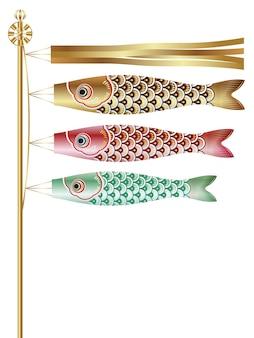 Flaga z serpentynami karpiowymi na japanese boys festival