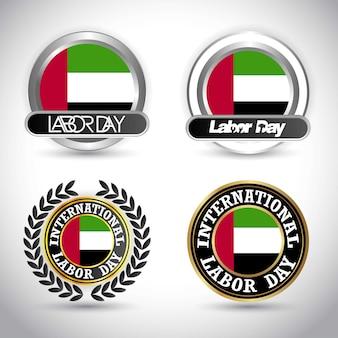 Flaga zjednoczonych emiratów arabskich z dnia pracy wektor