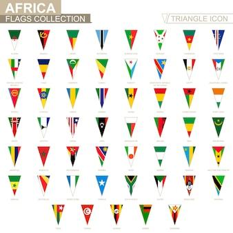 Flagi afryki, wszystkie flagi afrykańskie. ikona trójkąta.