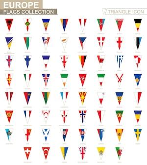 Flagi europy, wszystkie flagi europejskie. ikona trójkąta.