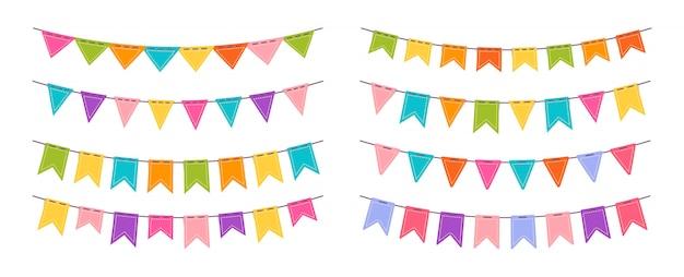 Flagi girlanda na przyjęcie urodzinowe płaski zestaw. proporczyki trznadla na uroczystość, dekoracja festiwalowa. rocznica, uroczystości wiszące flagi kolekcja kreskówek. ilustracja na białym tle