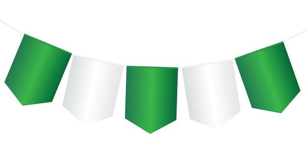 Flagi girlanda zielony i biały na białym tle