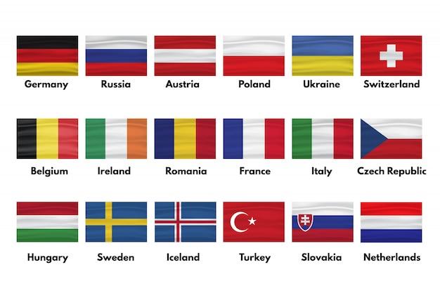 Flagi holandii, słowacji, turcji, szwecji, islandii, węgier, czech, włoch, francji, rumunii, irlandii, belgii, szwajcarii, ukrainy, polski, austrii, rosji, niemiec z cieniami