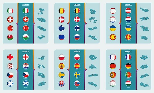 Flagi i mapa izometryczna z boiskiem piłkarskim rozgrywek piłkarskich europy 2020 posortowane według grup. kolekcja wektorów.