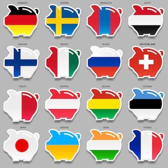 Flagi i skarbonki, pierwszy zestaw
