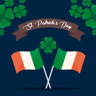 Flagi irlandzkie z koniczyny św patryka