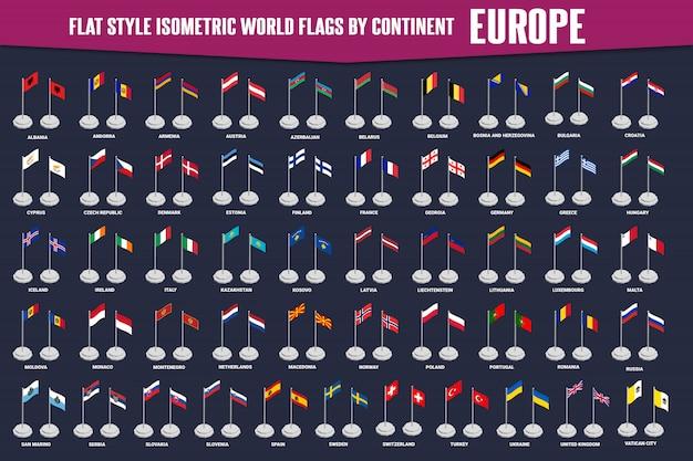 Flagi izometryczne w stylu płaskim kraju europy