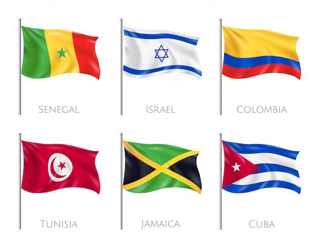 Flagi kraju zestaw z flagami senegalu i kuby realistyczne na białym tle