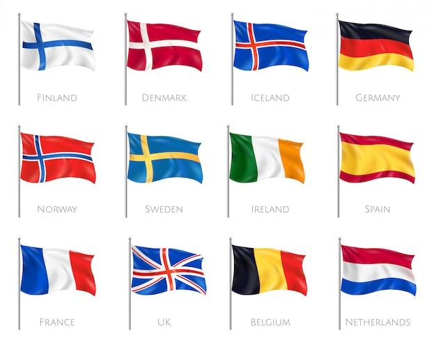 Flagi narodowe ustawione z finlandią i danią realistyczne na białym tle