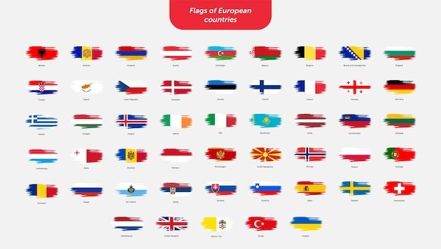 Flagi obrysu pędzla krajów europejskich
