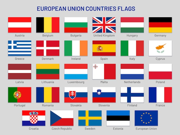 Flagi państw unii europejskiej. kraje podróży po europie, ustawiona flaga kraju członkowskiego ue
