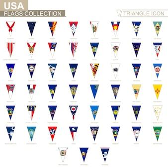 Flagi państw usa, wszystkie flagi państwowe. ikona trójkąta.