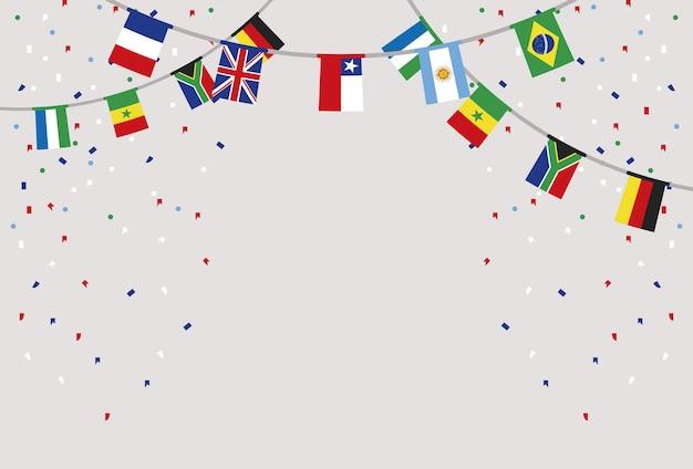 Flagi państw w girlandach