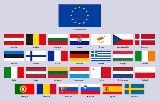 Flagi unii europejskiej hiszpania niemcy grecja i finlandia wektor zestaw ilustracji