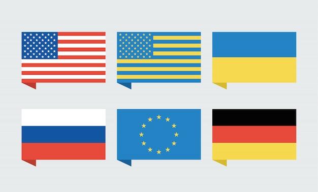 Flagi usa, ukrainy, unii europejskiej, rosji i niemiec
