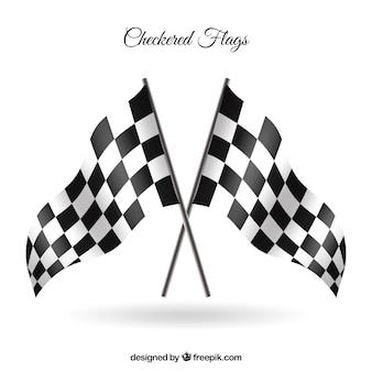 Flagi w kratkę z realistycznym stylu