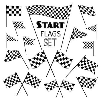 Flagi w szachownicę ikony na białym tle. machanie i skrzyżowane flagi wyścigów wektorowych