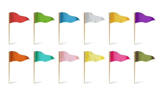 Flagi wskaźnika mapy. kolekcja flag. pojęcie trasy, punkt orientacyjny, ilustracja przygody.