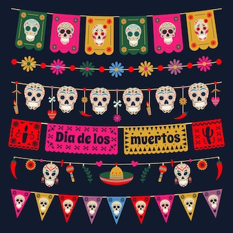 Flagi z chorągiewkami dia de los muertos. meksykański martwy dzień trznadel ozdoba, czaszki cukru i kwiaty trznadel wektor zestaw ilustracji. świąteczne girlandy z martwych dni