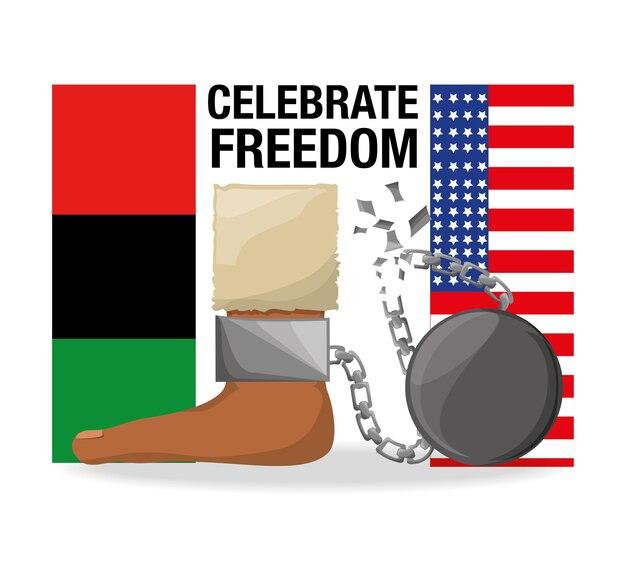 Flah i łańcuch w stopie, aby świętować wolność