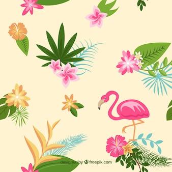 Flamenco tle z liśćmi i tropikalnych kwiatów