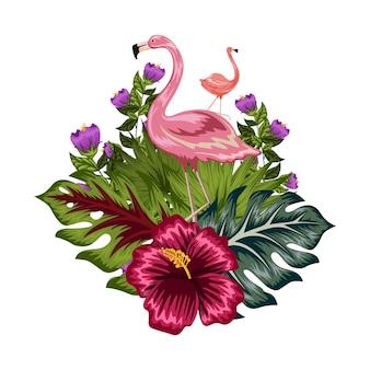 Flamengo z tropikalną kwiat ilustracją