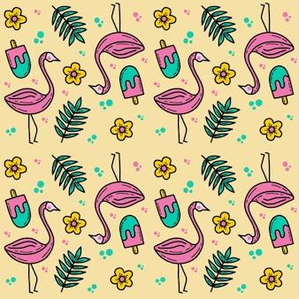 Flaminggo doodle wzór w letnim motywie bez szwu