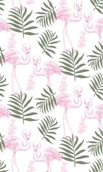 Flamingi i liści palmowych wzór
