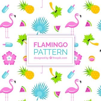 Flamingi wzór z owocami w stylu 2d