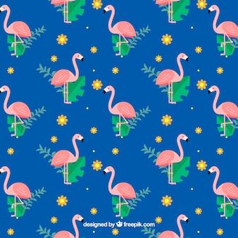 Flamingi wzór z roślin