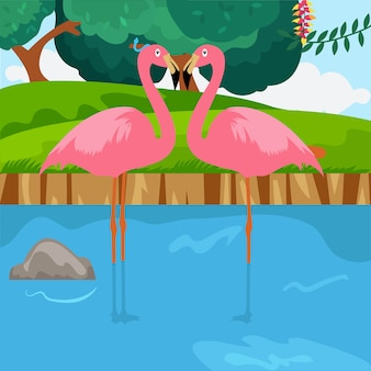 Flamingi zakochani w krajobrazie przyrody