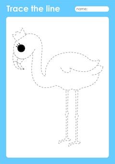 Flamingo - arkusz przedszkolny tracing lines dla dzieci do ćwiczenia umiejętności motorycznych