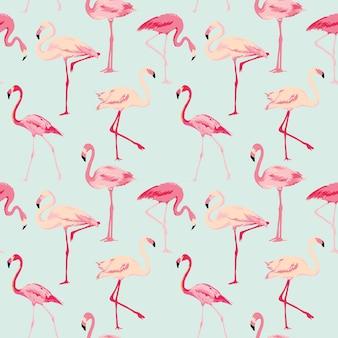 Flamingo bird retro wzór