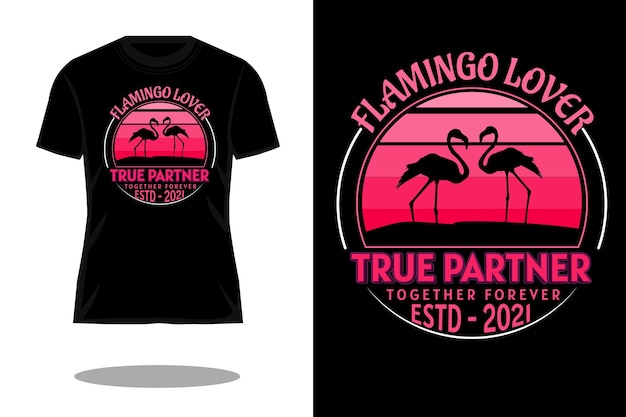 Flamingo kochanka sylwetka retro projekt koszulki