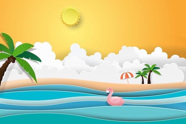 Flamingo łódź na oceanu krajobrazie z zmierzchem.