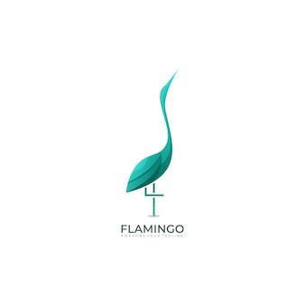 Flamingo nowoczesny gradientowy kolorowy szablon logo aquas