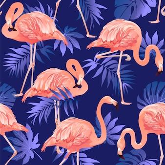 Flamingo ptak i tropikalne kwiaty tło