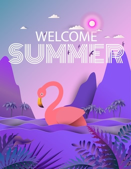 Flamingo ptak w rzece