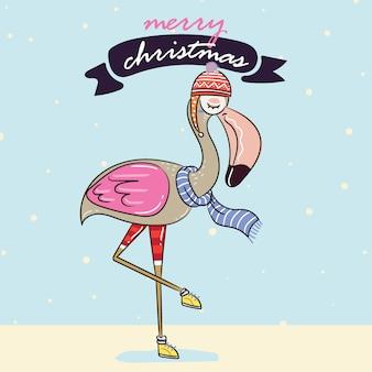 Flamingo w ciepłym zimowym swetrze i zimowym kartkę z życzeniami